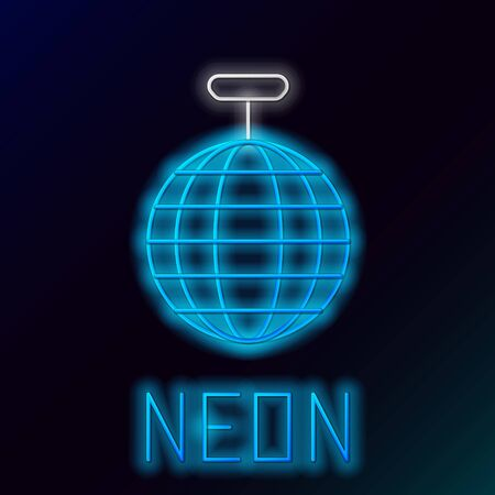 Blue glowing neon line Disco ball icon isolated on black background. Colorful outline concept. Vector Illustration Ilustração