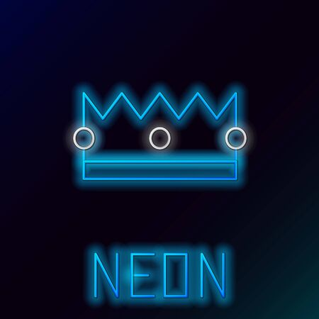 Blue glowing neon line Crown icon isolated on black background. Colorful outline concept. Vector Illustration