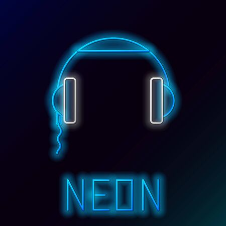 Blue glowing neon line Headphones icon isolated on black background. Earphones sign. Concept for listening to music, service, communication and operator. Colorful outline concept. Vector Illustration