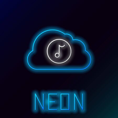 Blue glowing neon line Music streaming service icon isolated on black background. Sound cloud computing, online media streaming, online song, audio wave. Colorful outline concept. Vector Illustration