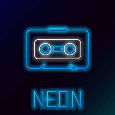 Blue glowing neon line Retro audio cassette tape icon isolated on black background. Colorful outline concept. Vector Illustration