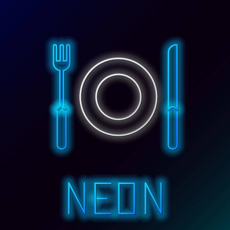 Blue glowing neon line Plate, fork and knife icon isolated on black background. Cutlery symbol. Restaurant sign. Colorful outline concept. Vector Illustration Ilustracje wektorowe