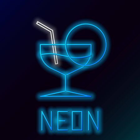 Blue glowing neon line Martini glass icon isolated on black background. Cocktail icon. Wine glass icon. Colorful outline concept. Vector Illustration