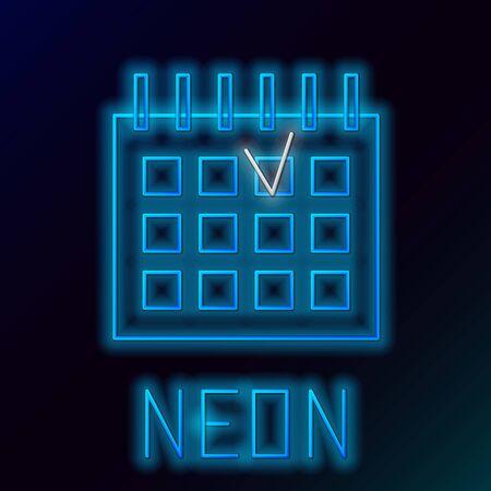 Blue glowing neon line Detailed calendar icon isolated on black background. Event calendar. Colorful outline concept. Vector Illustration Ilustração