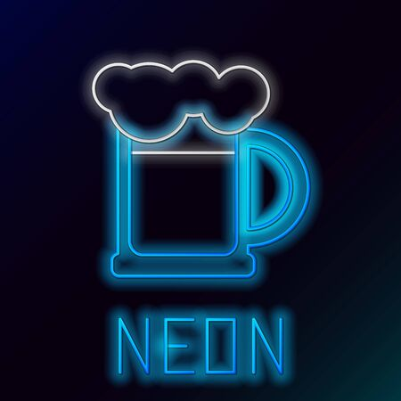 Blue glowing neon line Wooden beer mug icon isolated on black background. Colorful outline concept. Vector Illustration