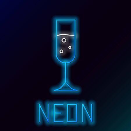 Blue glowing neon line Glass of champagne icon isolated on black background. Colorful outline concept. Vector Illustration