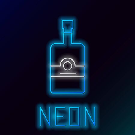 Blue glowing neon line Whiskey bottle icon isolated on black background. Colorful outline concept. Vector Illustration