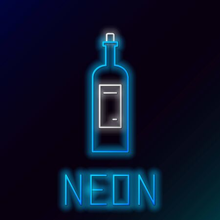 Blue glowing neon line Bottle of wine icon isolated on black background. Colorful outline concept. Vector Illustration