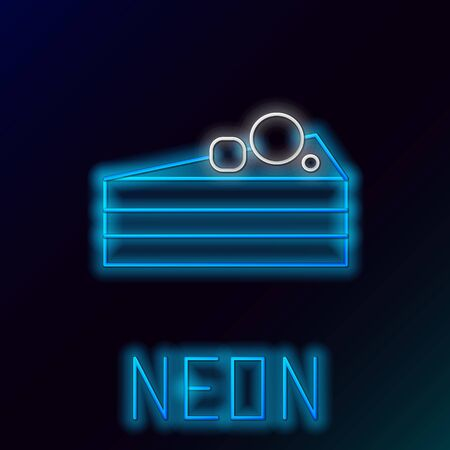 Blue glowing neon line Cake icon isolated on black background. Happy Birthday. Colorful outline concept. Vector Illustration