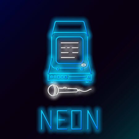 Blue glowing neon line Karaoke icon isolated on black background. Microphone and monitor. Colorful outline concept. Vector Illustration