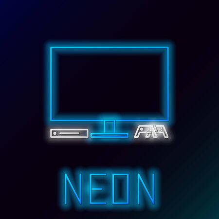Blue glowing neon line Video game console icon isolated on black background. Game console with joystick and lcd television. Colorful outline concept. Vector Illustration Ilustração