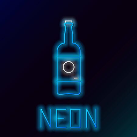 Blue glowing neon line Beer bottle icon isolated on black background. Colorful outline concept. Vector Illustration