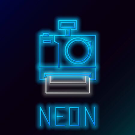 Blue glowing neon line Photo camera icon isolated on black background. Foto camera icon. Colorful outline concept. Vector Illustration