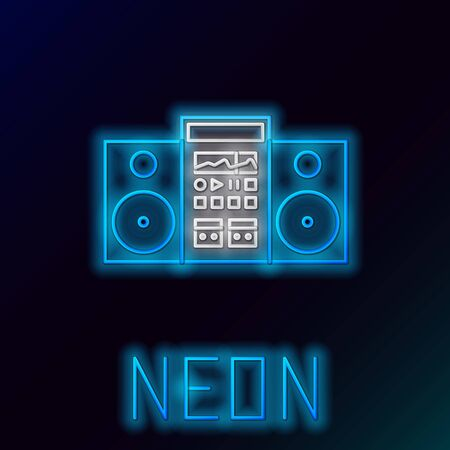 Blue glowing neon line Home stereo with two speakers icon isolated on black background. Music system. Colorful outline concept. Vector Illustration