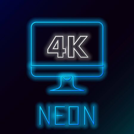 Blue glowing neon line Computer PC monitor display with 4k video technology icon isolated on black background. Colorful outline concept. Vector Illustration 向量圖像