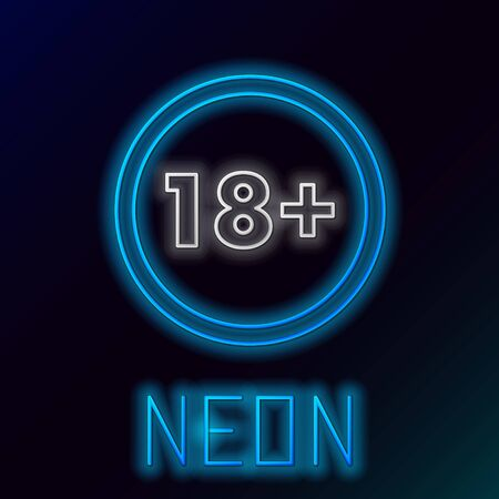 Blue glowing neon line Plus 18 movie icon isolated on black background. Adult content. Under 18 years sign. Colorful outline concept. Vector Illustration