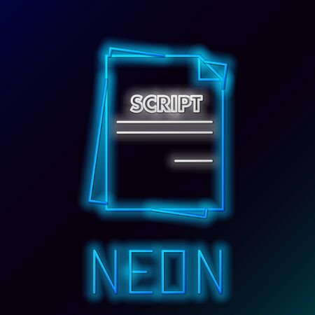 Blue glowing neon line Scenario icon isolated on black background. Script reading concept for art project, films, theaters. Colorful outline concept. Vector Illustration Illusztráció