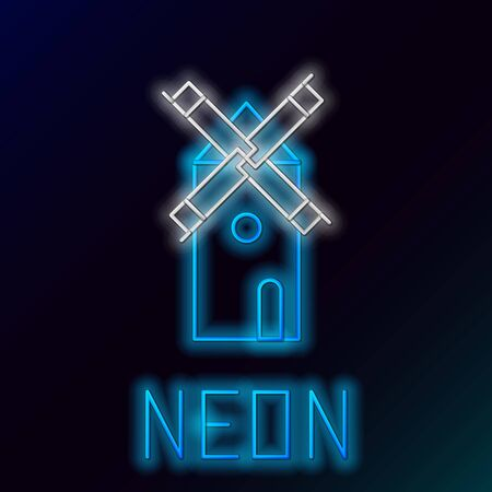 Blue glowing neon line Windmill icon isolated on black background. Colorful outline concept. Vector Illustration