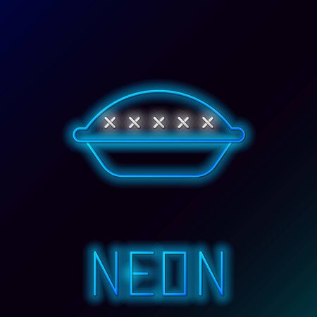 Blue glowing neon line Homemade pie icon isolated on black background. Colorful outline concept. Vector Illustration