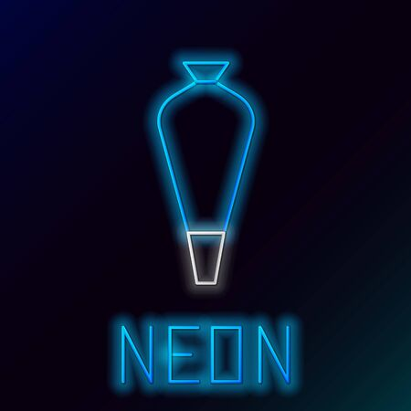 Blue glowing neon line Pastry bag for decorate cakes with cream icon isolated on black background. Kitchenware and utensils. Colorful outline concept. Vector Illustration Illustration