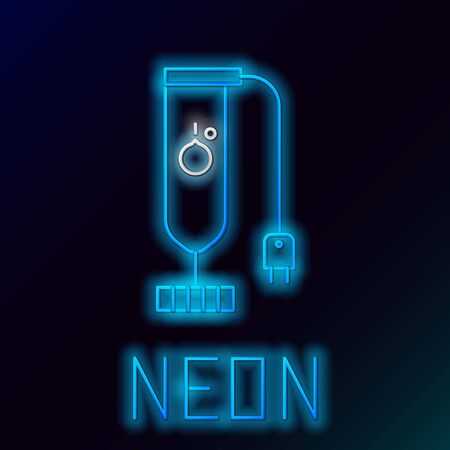 Blue glowing neon line Blender icon isolated on black background. Kitchen electric stationary blender. Cooking smoothies, cocktail or juice. Colorful outline concept. Vector Illustration 일러스트