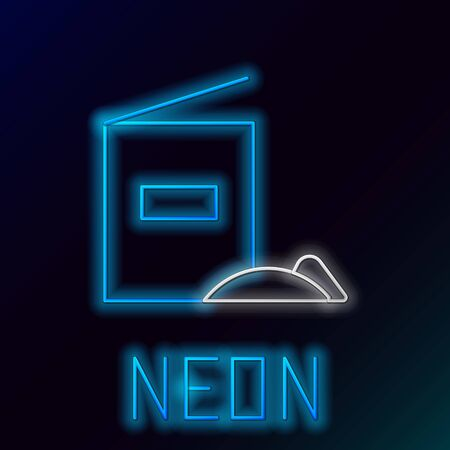Blue glowing neon line Flour pack icon isolated on black background. Colorful outline concept. Vector Illustration