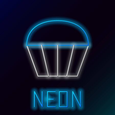 Blue glowing neon line Muffin icon isolated on black background. Colorful outline concept. Vector Illustration Ilustração