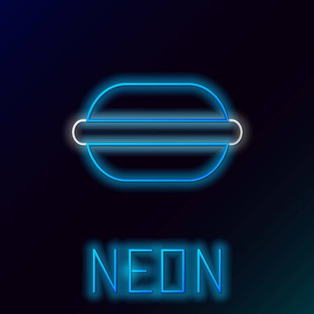 Blue glowing neon line Macaron cookie icon isolated on black background. Macaroon sweet bakery. Colorful outline concept. Vector Illustration