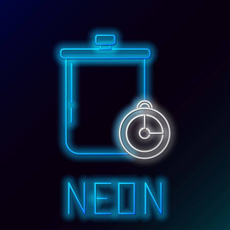 Blue glowing neon line Cooking pot and kitchen timer icon isolated on black background. Boil or stew food symbol. Colorful outline concept. Vector Illustration