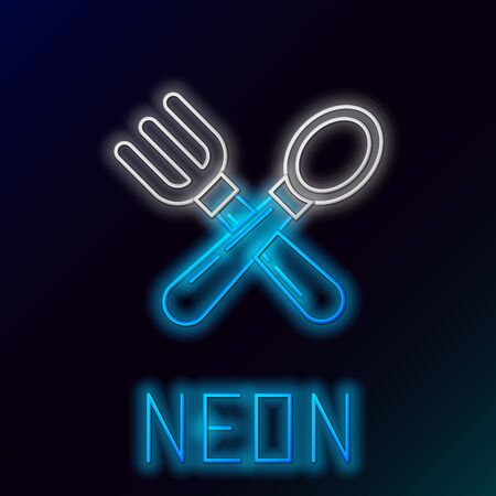 Blue glowing neon line Crossed fork and spoon icon isolated on black background. Cooking utensil. Cutlery sign. Colorful outline concept. Vector Illustration