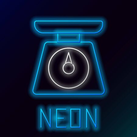 Blue glowing neon line Scales icon isolated on black background. Weight measure equipment. Colorful outline concept. Vector Illustration
