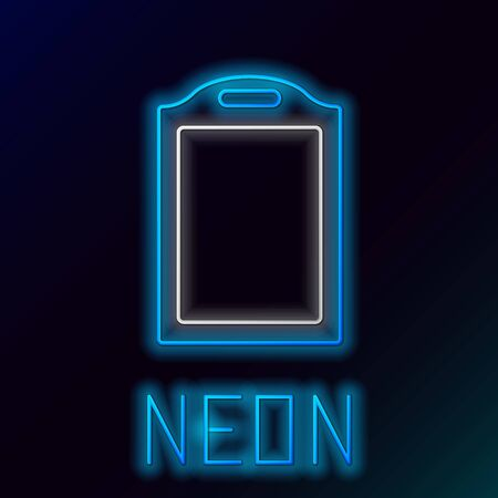 Blue glowing neon line Cutting board icon isolated on black background. Chopping Board symbol. Colorful outline concept. Vector Illustration