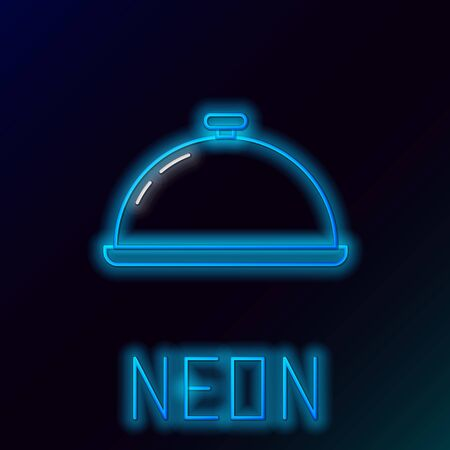 Blue glowing neon line Covered with a tray of food icon isolated on black background. Tray and lid sign. Restaurant cloche with lid. Kitchenware symbol. Colorful outline concept. Vector Illustration 일러스트