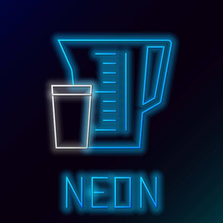 Blue glowing neon line Measuring cup to measure dry and liquid food icon isolated on black background. Plastic graduated beaker with handle. Colorful outline concept. Vector Illustration