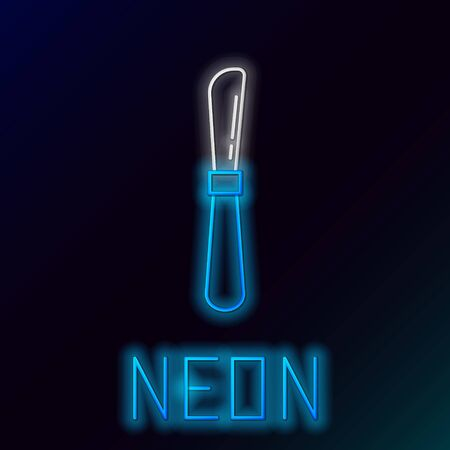 Blue glowing neon line Knife icon isolated on black background. Cutlery symbol. Colorful outline concept. Vector Illustration