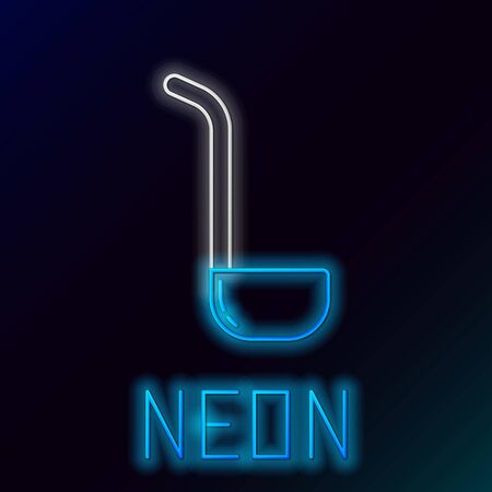 Blue glowing neon line Kitchen ladle icon isolated on black background. Cooking utensil. Cutlery spoon sign. Colorful outline concept. Vector Illustration Ilustração