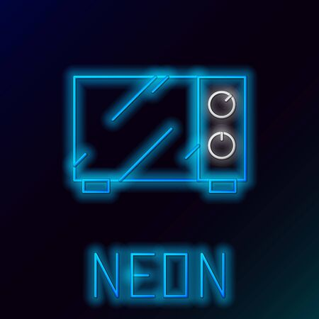 Blue glowing neon line Microwave oven icon isolated on black background. Home appliances icon. Colorful outline concept. Vector Illustration