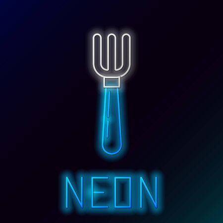 Blue glowing neon line Fork icon isolated on black background. Cutlery symbol. Colorful outline concept. Vector Illustration Ilustração