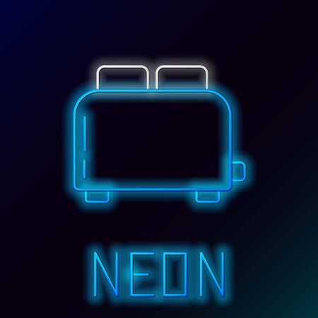 Blue glowing neon line Toaster with toasts icon isolated on black background. Colorful outline concept. Vector Illustration Ilustração