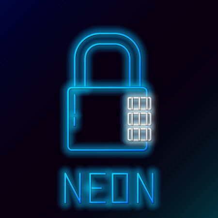 Blue glowing neon line Safe combination lock icon isolated on black background. Combination padlock. Security, safety, protection, password, privacy. Colorful outline concept. Vector Illustration Illusztráció