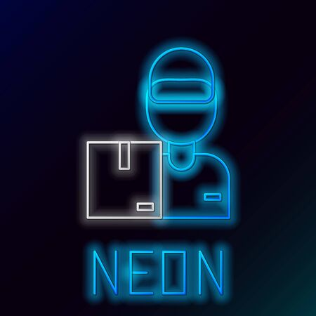 Blue glowing neon line Delivery man with cardboard boxes icon isolated on black background. Door to door delivery by courier. Colorful outline concept. Vector Illustration