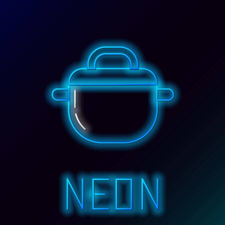 Blue glowing neon line Cooking pot icon isolated on black background. Boil or stew food symbol. Colorful outline concept. Vector Illustration
