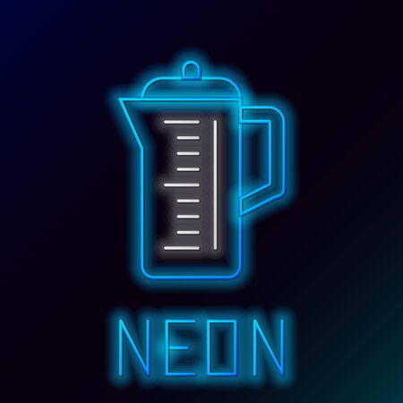 Blue glowing neon line Teapot icon isolated on black background. Colorful outline concept. Vector Illustration