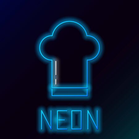 Blue glowing neon line Chef hat icon isolated on black background. Cooking symbol. Cooks hat. Colorful outline concept. Vector Illustration