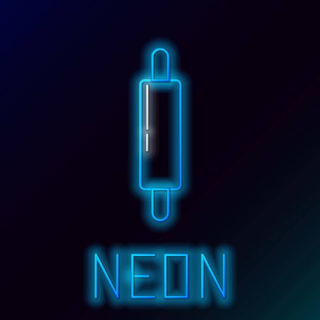 Blue glowing neon line Rolling pin icon isolated on black background. Colorful outline concept. Vector Illustration Ilustração