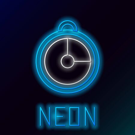 Blue glowing neon line Kitchen timer icon isolated on black background. Cooking utensil. Colorful outline concept. Vector Illustration