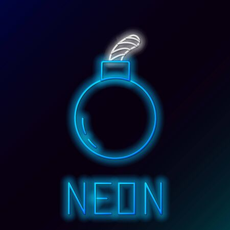 Blue glowing neon line Bomb ready to explode icon isolated on black background. Colorful outline concept. Vector Illustration