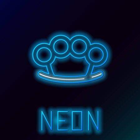 Blue glowing neon line Brass knuckles icon isolated on black background. Colorful outline concept. Vector Illustration Ilustrace