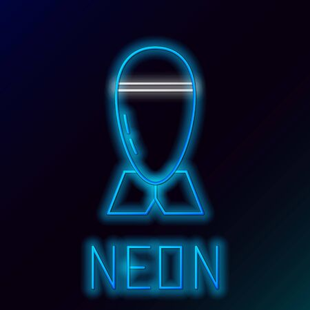 Blue glowing neon line Aviation bomb icon isolated on black background. Rocket bomb flies down. Colorful outline concept. Vector Illustration