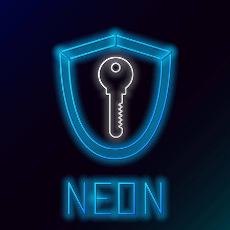 Blue glowing neon line Shield with key icon isolated on black background. Protection and security concept. Safety badge icon. Privacy banner. Defense tag. Colorful outline concept. Vector Illustration